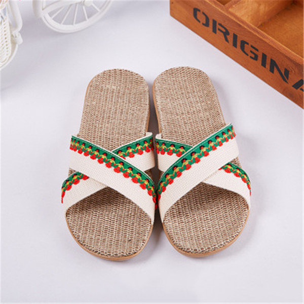 New summer women's linen slippers home indoor non-slip Japanese and Korean fashion sweat-absorbent breathable deodorant wood flo