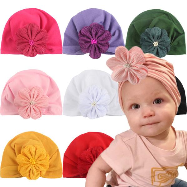 Menina de New Kids Hat bebê recém-nascido Hedging Cap algodão indiano Chapéu muçulmano Flower Bow Dome Sólidos