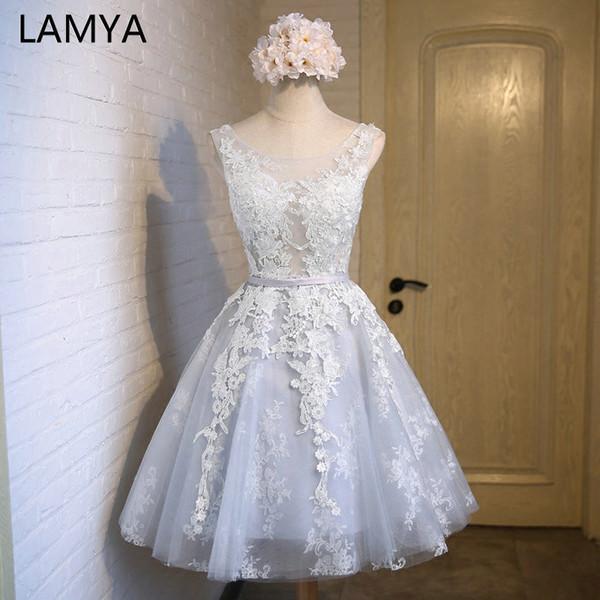 Lamya elegante Spitze mit Tüll Prom-Partei-Kleider 2019 Günstige Short Eine Linie formales Kleid plus Größe Vestidos De Novia
