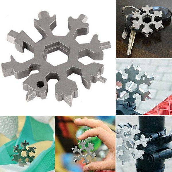 18 in 1 multi attrezzo in acciaio inox del fiocco di neve Forma Set portachiavi piatto Croce Cacciavite Attrezzo manuale