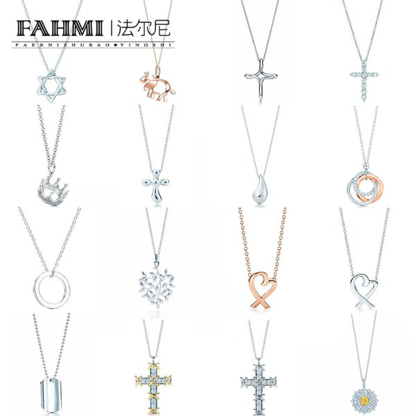 FAHMI 100% 925 Sterling Silver 1:1 Original GOOD Authentic Classic Crown Cross Heart Gift Exquisite Wedding Women Necklace Jewelry