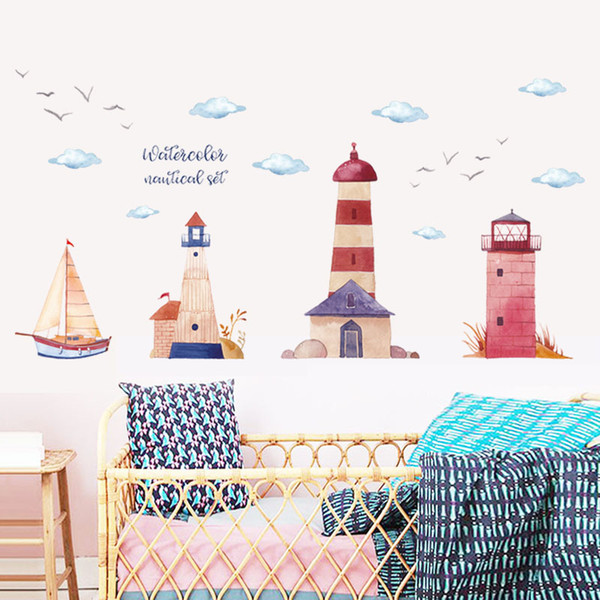 White Clouds Birds and Lighthouse Wall Decals DIY PVC Watercolor Landscape Sticker Murals for Kids Room Nursery Decoration Removable