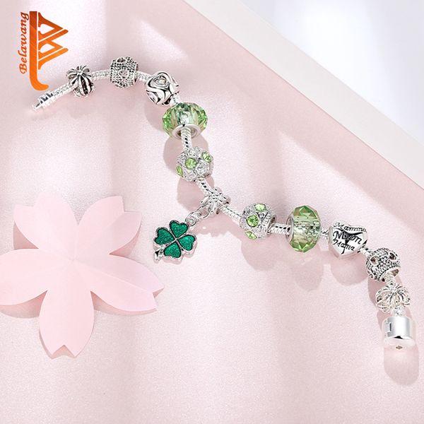 USpecial 2019 perline placcate argento per donna braccialetto gioielli fai da te perline in vetro di Murano verde perline di trifoglio fortunato perline bracciali