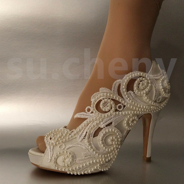 Women fashion Silk lace open toe Wedding Bridal shoes high heel party shoes pump women shoes