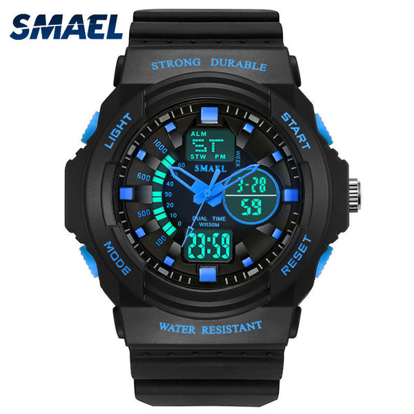 New Fashion Watches Men Smael Brand 50m Waterproof Sport Watches Male Clock Dual Display Wristwatches Hot Clock 1370 S For Girl