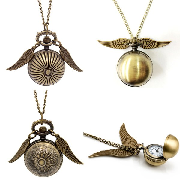 Harry Golden Snitch Pocket Watch Antique Bronze Wing Ball Pendant Necklace Chains Potter Fashion Jewelry Fans Gift free shipping
