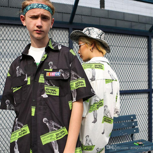 Männer Hip-Hop-Shirt 2019 Sommer Europa und Amerika Street Fashion Retro Porträt-Version der volle Satz von Digitaldruck loser Männern
