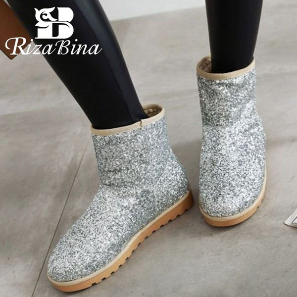 RIZABINA 6 Color Women Plush Fur Snow Boots Round Toe Thick Sole Ankle Boots Keep Warm Winter Shoes Woman Footwear Size 34-43