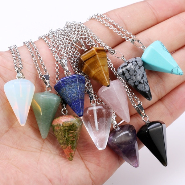 Fashion Classic Necklace Natural Stone Hexagonal Pendulum Chain Pendant 14 Colors Taper Soul Swing Bullet Crystal Necklace Jewelry