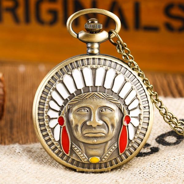 Ancient Chief Indian Old Man Design colorato ritratto Quarzo Fob Pocket Watch Collana pendente in bronzo Regali catena come da collezione