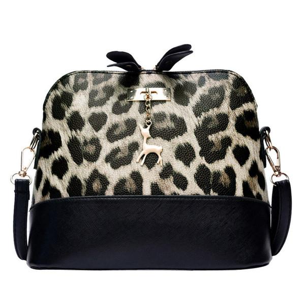 Women Leopard Print Cross-body Shoulder Messenger Phone Coin Bag Women Messenger Bags With Tassel Designers PU Handbags #A