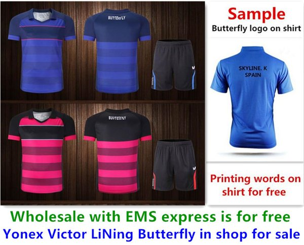 best selling Wholesale EMS for free, Text printing for free, new badminton shirt clothes table tennis T sport shirt clothes AA02