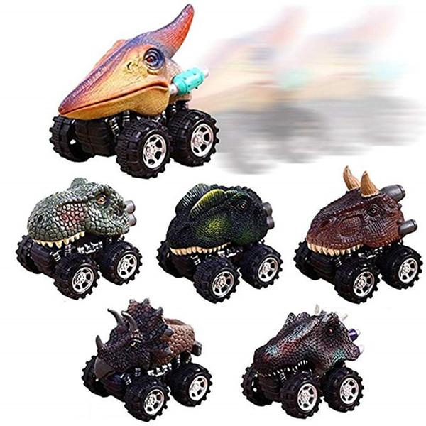 Mini Dinosaur Car Plastic Spring Pull Back Car Model Vehicle Wind-up Toys Kids Educational Toy Children Gifts for Boys Kid Tyrannosaurus Rex