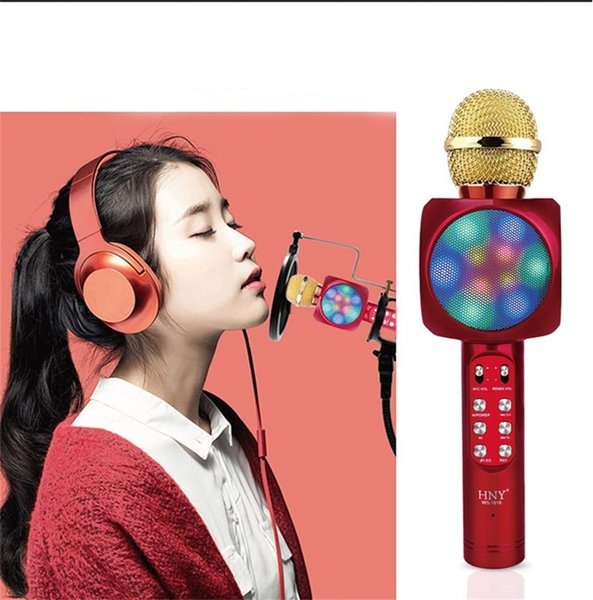 Handheld Wireless Bluetooth Microphone Colorful Dance lights VKaraoke Music Speaker Condenser Microphone Mic USB Double Outdoor Entertain FM
