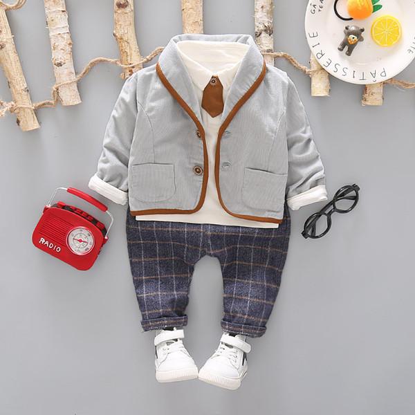 3pcs cravate enfant vêtements formels ensemble bébé garçon costume costume printemps automne coton enfants vêtements enfants vêtements costume costume 1-4 ans J190716