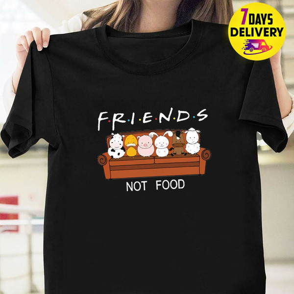 Animal Friends Not Food Lustiges T-Shirt Schwarz Größe Hot 2019 Sommer Herrenmode Kurzarm Baumwolle Kreuz Benutzerdefinierte Shirt Druck