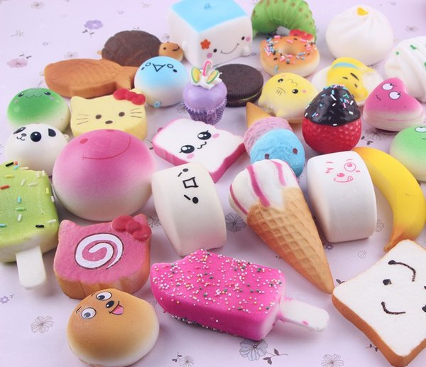 2019 Kawaii Squishies Donut Bun Toast Bread with Lanyard for Cell Phone Charm Straps Mixed Rare Squishy Slow Rising scented