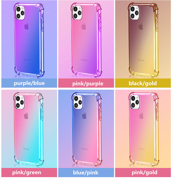 For IPhone 11 XR XS MAX 8 7Plus 6S Samsung Galaxy S10 5G Note 10 Gradient  Colors Anti Shock Airbag Soft Clear Cases HOT SALE Create A Cell Phone Case