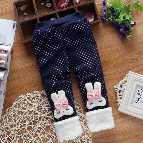 good quality baby girls leggings pants,Rabbit ear hair ball cotton plus velvet winter legging pants,baby trousers