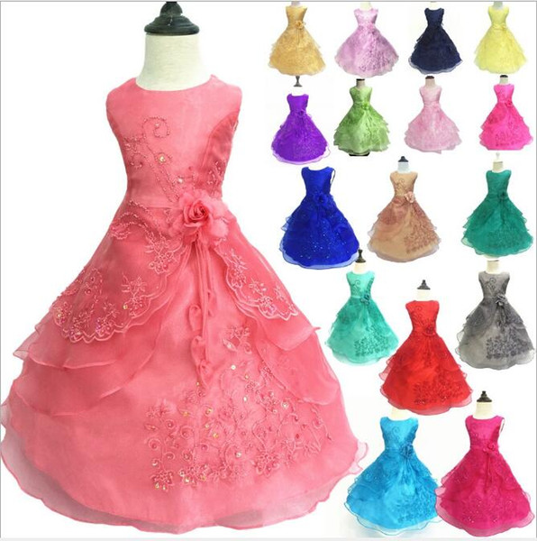Layered Lace Wedding Dresses for Girls Gorgeous Embroidery Beads Gowns Aline Organza Princess Dress Kids Clothes age 1-16 Years old