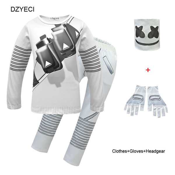 Fornite Cosplay Costume For Big Boy Girl Boutique Outfit Halloween Children Mask+T Shirt Top+Trouser Set Kid Sport Suit Tracksuit Clothes