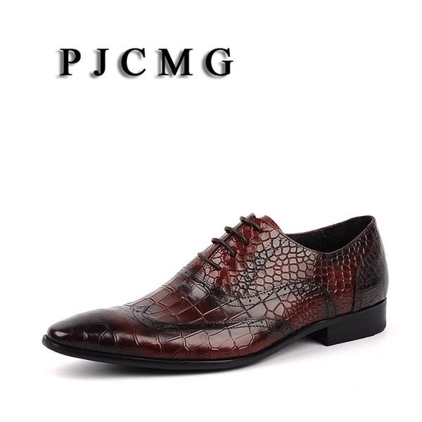 PJCMG Mode Noir / Rouge Hommes Robe Chaussures de haute qualité respirant modèle à lacets en cuir véritable crocodile Robe Oxford Chaussures