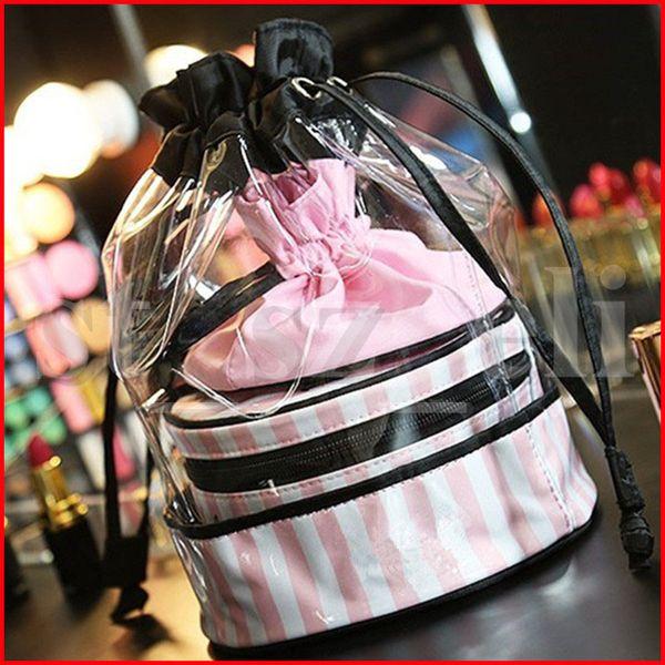 PVC Transparente Cosméticos Organizador Rodada Viagem Saco De Higiene Pessoal Set Rosa Stripe Com Cordão Beleza Maquiagem Sacos 3 pçs / set