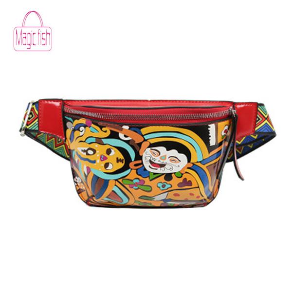 Magic Fish New Women Waist Pack Ethnic Cute Funny Personality Belt Bag PU Leather Graffiti Chest Handbag Colorful Shoulder Belt