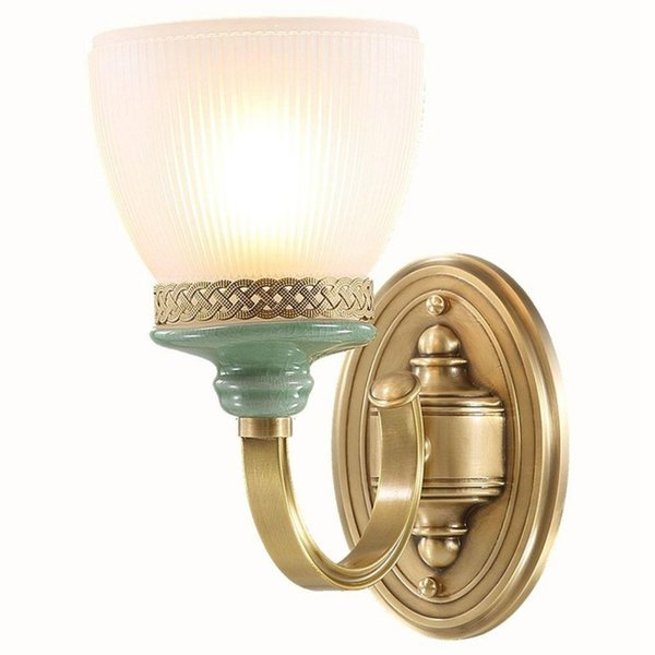 American Loft Copper Living Room Wall Lamp Vintage Frosted White Glass Shade Bedroom Bedsides Green Ceramic Corridor Stair Case Wall Sconce