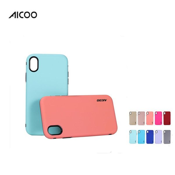 Aicoo 2 em 1 híbrido telefone commuter casos à prova de choque capa protetora para samsung note9 j8 2018 iphone xs max huawei mate 20 saco de opp