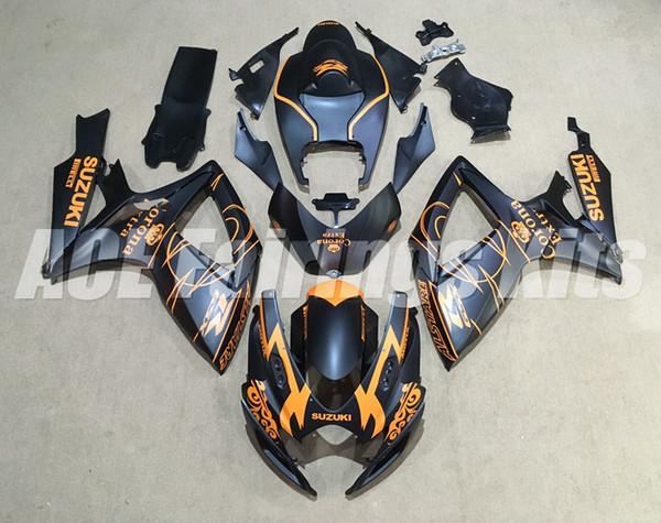 Nuevos kits de carenado de motocicleta ABS para SUZUKI GSXR 600 750 K6 06 07 GSXR-600 GSXR750 GSXR600 GSXR-750 2006 2007 mate negro naranja