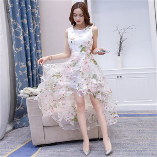 Summer 2019 New Eugene Gauze Peng Swallow Tail Long Skirt Sleeveless Big Show Famous Personality Dresses Fragmented Flower Dresses