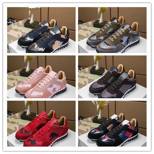2019 alta calidad zapatos casuales para mujer moda camuflaje parejas zapatos para hombre zapatos de cuero casuales remache remache zapatilla de deporte barata 38-44 haoy V 010