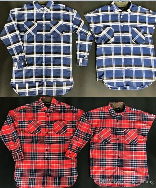 2018 New Fear Of God Shirts Men Women High Quality Justin Bieber Striped Flannel Shirts Blue Brown Dress Shirt Fashion Shirts