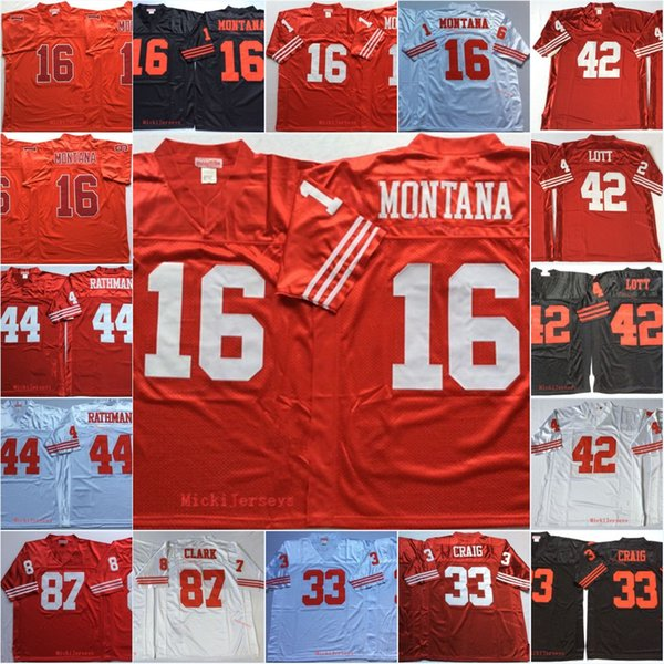 separation shoes 97cee 2807b 2019 Mens Vintage #16 Joe Montana Football Jersey Stitched #42 Ronnie Lott  33 Roger Craig 44 Tom Rathman 87 Dwight Clark Jersey S 3XL From Xt23518, ...