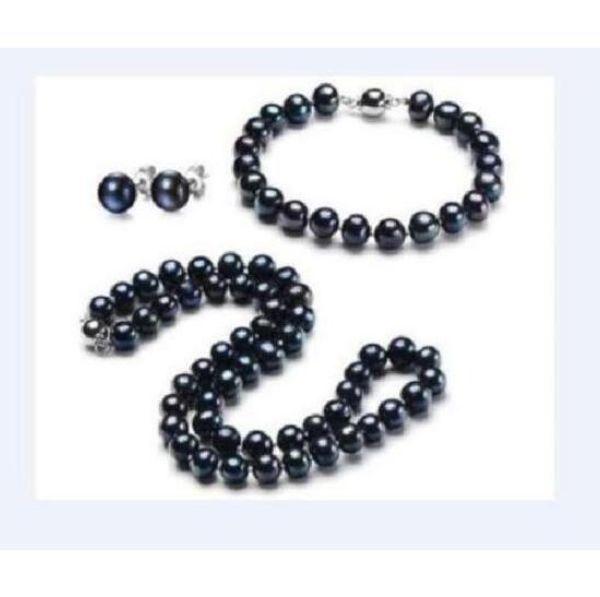 New 7-8mm natural tahitian black pearl necklace bracelet orecchino set bianco