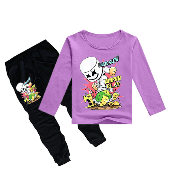 1-12Y Boys Girls long sleeves T-shirt + Trousers 2 Piece Sets DJ Marshmello Printed kids clothing sets kids designer clothes DHL JY108