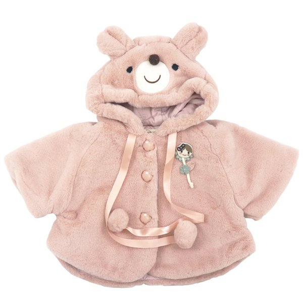 2019 Winter cotton wool pure color princess casual all-match super warm Cape coat with cute bear cap for cute sweet baby boys