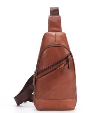 Newly Hot sale men chest bag genuine leather men waist pack of phone recharge chest bag by cow leather men waist bag