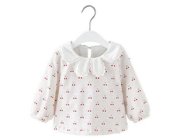 2019 Осень, мода, детская Девушка с вишневым узором, футболка с длинным рукавом