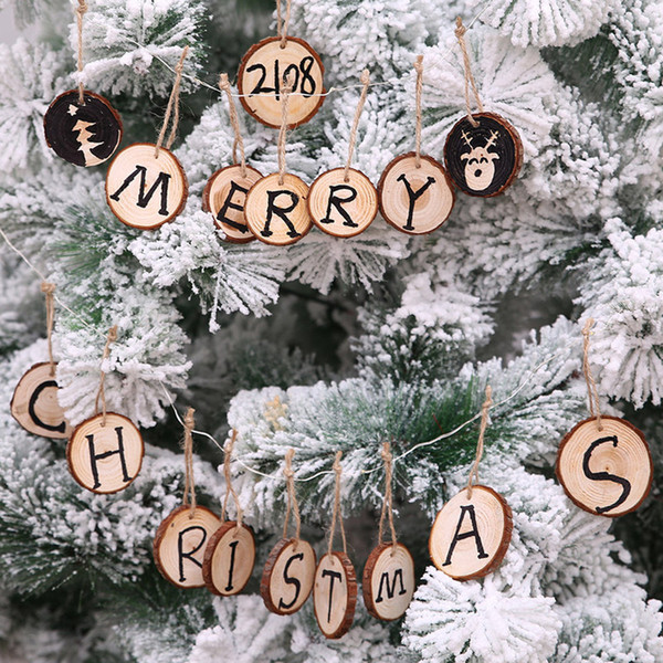 10pcs Wooden Round Baubles Tags Natale Balls Art Craft Ornaments Navidad 2019 Tree Hanging DIY Christmas Decorations for Home