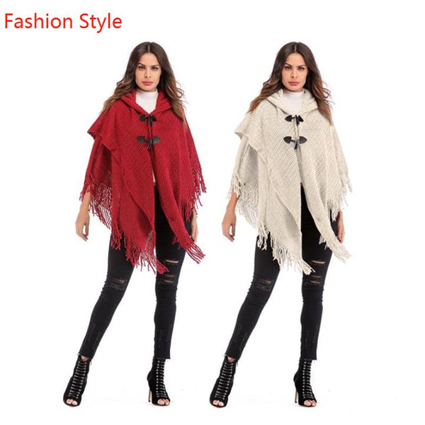 Sweater Cape Batwing Vintage Style Tassels Horn Button Knitting Loose Cardigan Free Size Hooded Women Cape Coats
