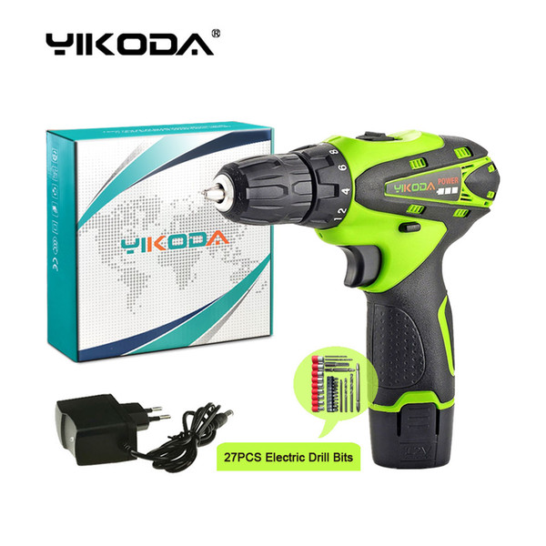 top popular 12V Cordless Drill Household Decoration Mini Hand Electric Screwdriver Lithium Multi-function Power Tools One Battery Carton Plus Drill Bits 2021