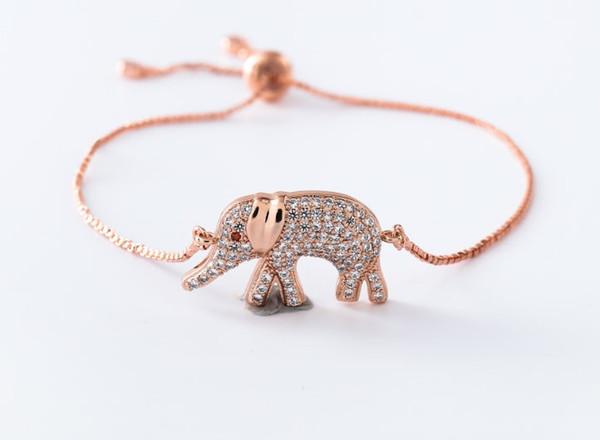 gold silver Chain micro pave cz Zircon Cubic Zirconia bracelet rope adjusted Macrame Elephant Bangle dt5345 Fashion Jewelry