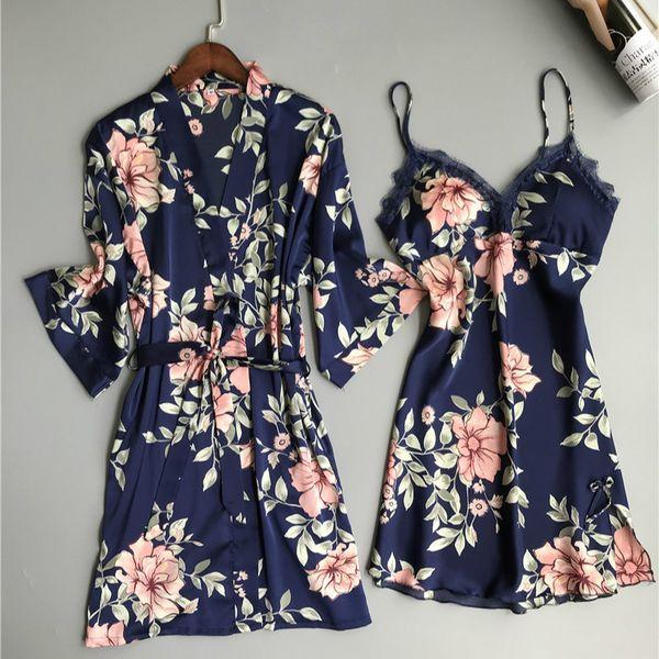 Print Rayon Pajamas Dress Set Mini Loose Nighty 2XL Summer Women Night Dress Sleepwear Sexy Lingerie with Robe 2 Piece Sleepwear