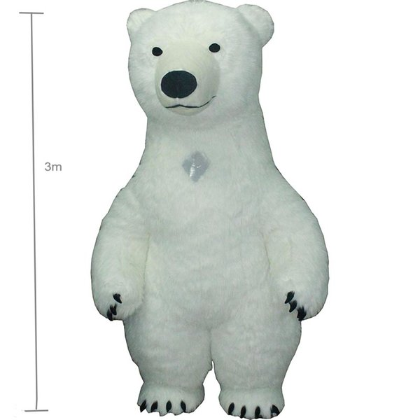 3m white bea Mascot Costume For Adult Inflatable Polar Bear Costume Advertising For Fantasias Homem Customize Tall Short Hair