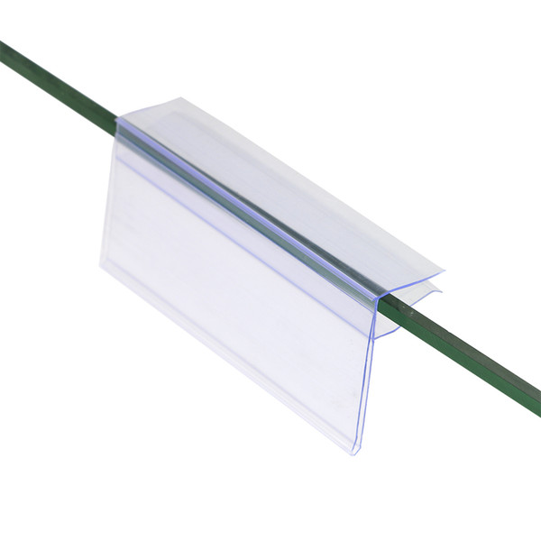 best selling 4*10cm POP TOP price tag display clear ticket sign tag clip data strip glass wood shelf sign clip strip shelf talker label holder strip