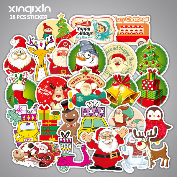 38 pcs Mixed christmas Cartoon Toy Stickers for Car Styling Bike Motorcycle Phone Laptop Travel Luggage Cool Funny Sticker Bomb