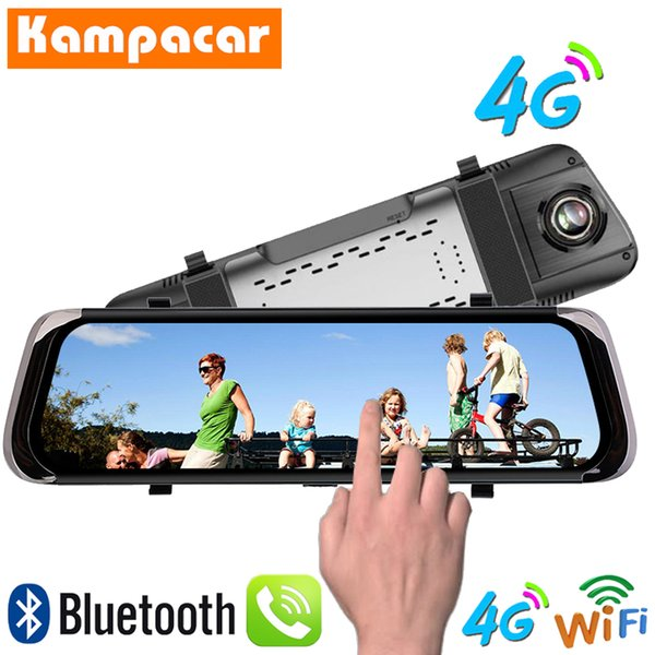 Kampacar 10 Inch Android Smart Rearview Mirror Camera Dvr Car 4G GPS Navigation Dvrs With Rear View Camera Two Lens Dual Dashcam