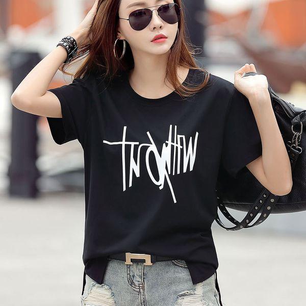 2019 Bayan Tasarımcı T-Shirt Yeni Yaz Tshirt Gevşek Ince Baskılı Moda Tee Gömlek Kısa Kollu Kadın Giyim Tops 5 renkler isteğe bağlı